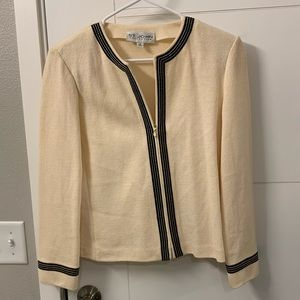 St. John Collection Cream Brown Zip Up Cardgian
